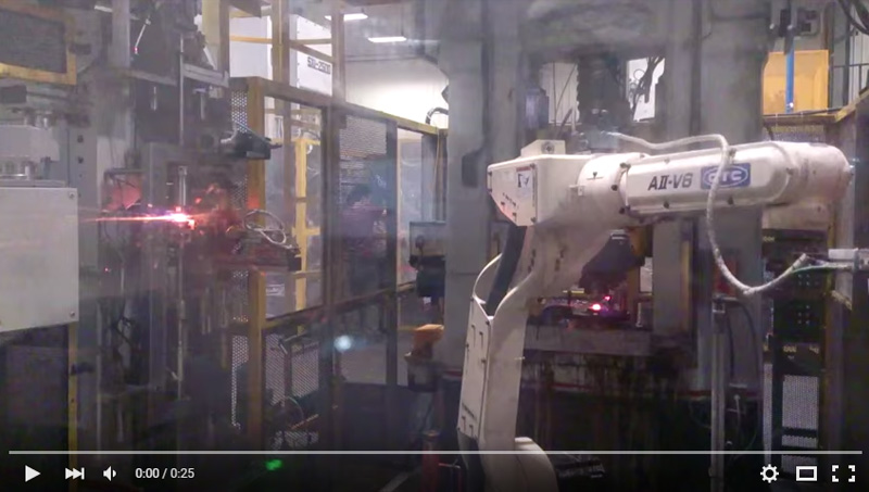 OTC AII-V6 ROBOT Handing Workpiece